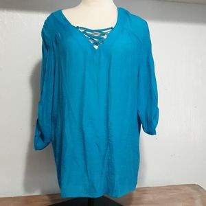 Christopher & Banks blue women blouse size Large